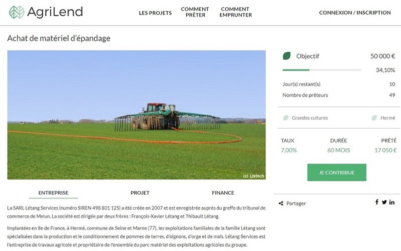AgriLend : Exemple de projet à financer