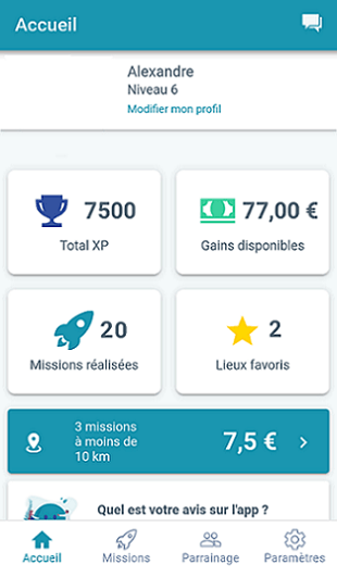 BeMyEye : accueil de l'application