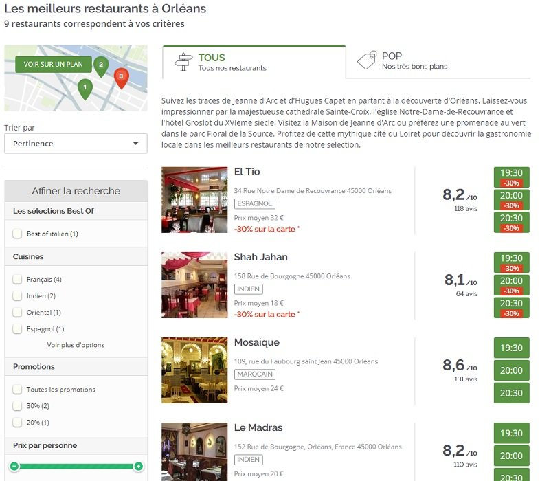 LaFourchette : recherche de restaurants