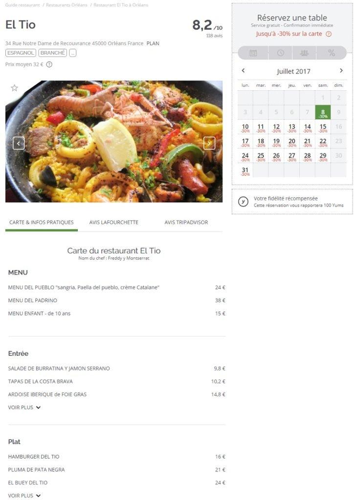LaFourchette : la réservation de restaurants en toute simplicité