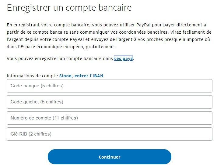 ajouter un compte bancaire sur paypal