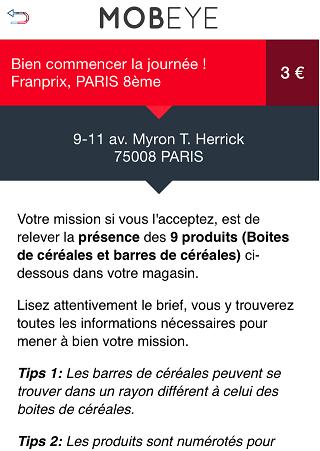 Description d'un mission MobEye