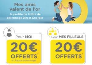 Parrainage Direct Energie: 20 Euros de réduction sur votre première facture.
